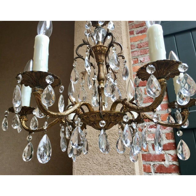 Vintage Six Light French Brass and Crystal Chandelier For Sale - Image 11 of 13