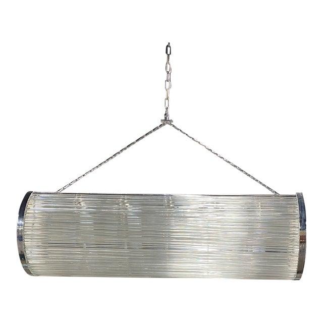 Enormous Heavy 1960's Art Deco Glass Chrome Ceiling Light Fixture Glass Rod For Sale