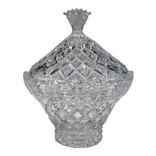Mid-Century Basket Shaped Crystal Candy Dish With Lid For Sale