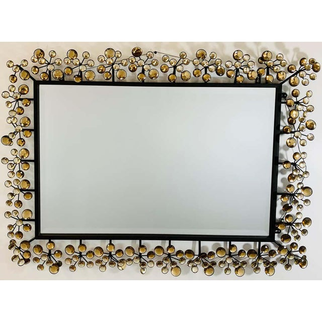 Mid-Century Modern Black and Faux Crystal Accent Beveled Wall Mirror For Sale - Image 13 of 13