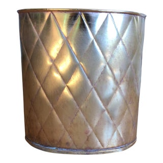 Antique Quilted Brass Wastebasket For Sale