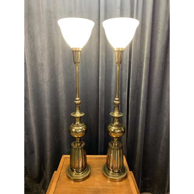 1960s 1960s Brass Stiffel Table Lamps With Glass Diffusers and Shades - a Pair For Sale - Image 5 of 11