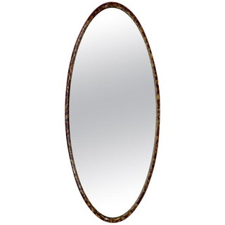 La Barge 1960s Mid-Century Modern Hollywood Regency Large Oval Wall Mirror For Sale