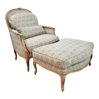 French Louis XV Style Custom Quality Bergere Lounge Chair With Ottoman For Sale