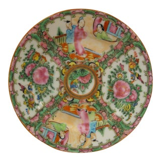 "6"" Porcelain Saucer - Antique 1850's Rose Medallion China - 4 Available For Sale"