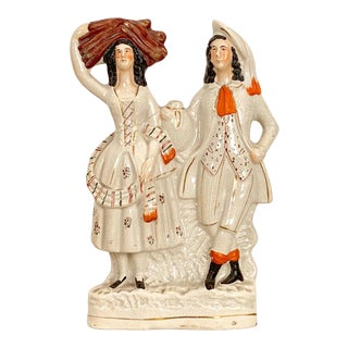 Circa 1880 Staffordshire Figure of a Man and Woman, England For Sale