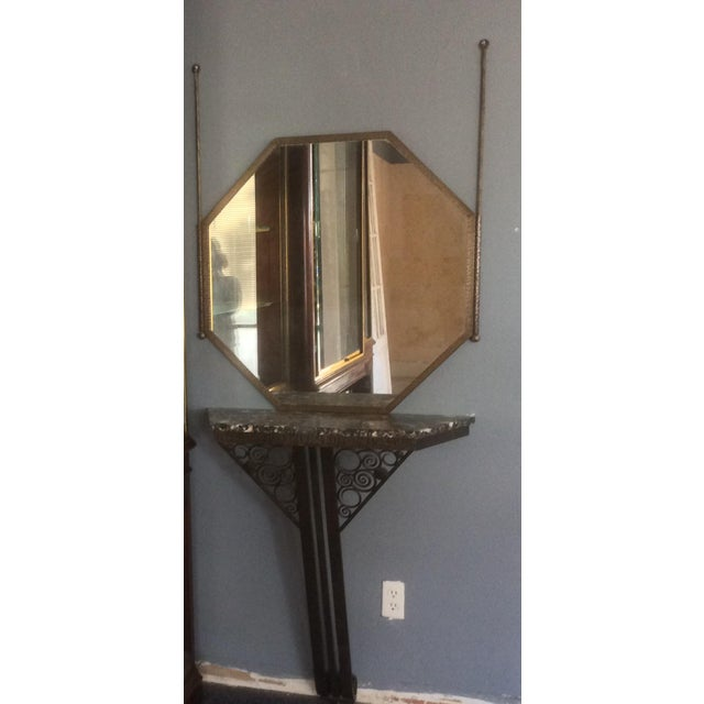 Metal Wrought Iron Console Table and Mirror Set For Sale - Image 7 of 11