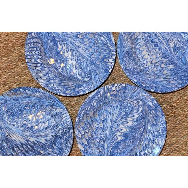 Delft Blue Firenze Marbleized Ceramic Cocktail Plates - Set of 4 For Sale - Image 9 of 10