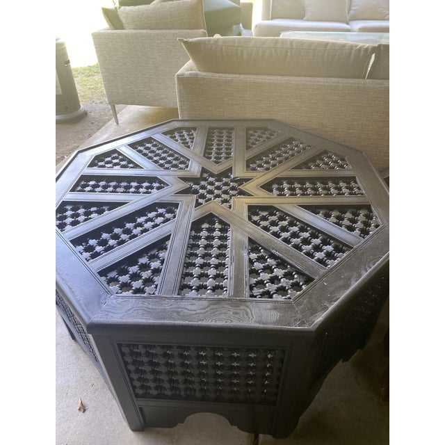 Late 19th Century Refurbished Vintage Moroccan Octagonal Coffee Table With Glass Top For Sale - Image 5 of 8