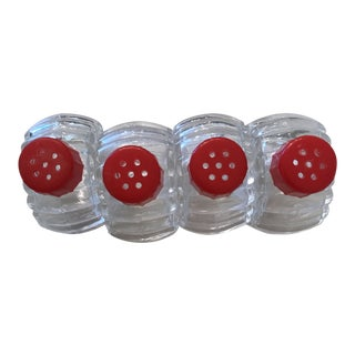 Pressed Glass Salt and Pepper Shakers With Red Caps - set of 4 For Sale