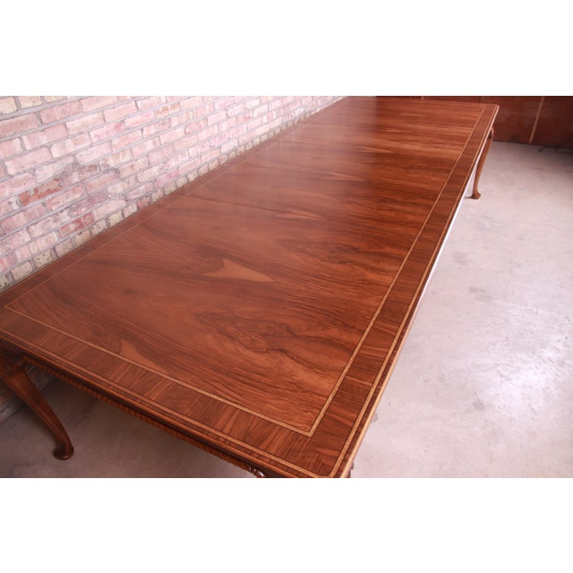 Wood Baker Furniture Stately Homes Queen Anne Inlaid Walnut Extension Dining Table, Newly Refinished For Sale - Image 7 of 13
