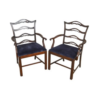 Chippendale Style Vintage Solid Mahogany Pair of Ladderback Arm Chairs For Sale