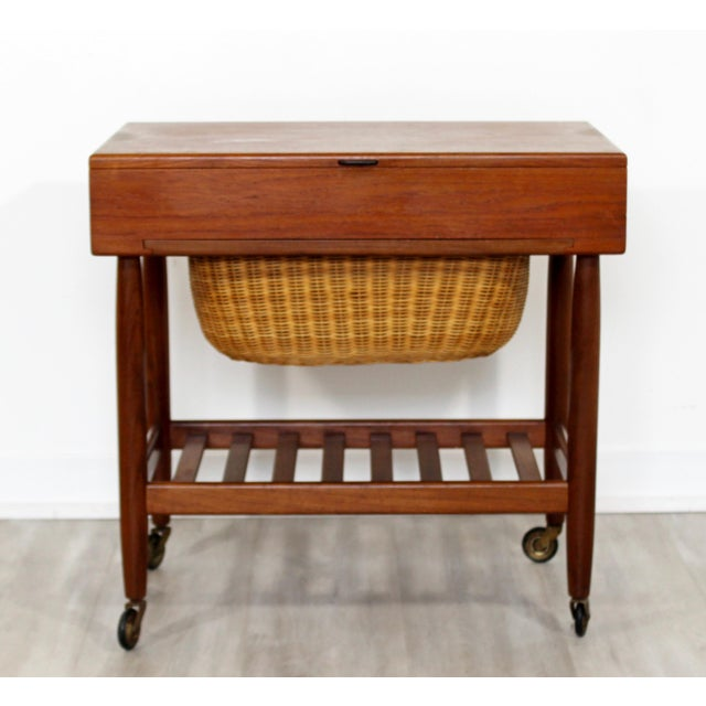 7b0d2dec9 For your consideration is a gorgeous, sewing cabinet or side table on  casters, with. Danish Modern 1950s Vintage Ejvind Johansson Danish Mid  Century ...
