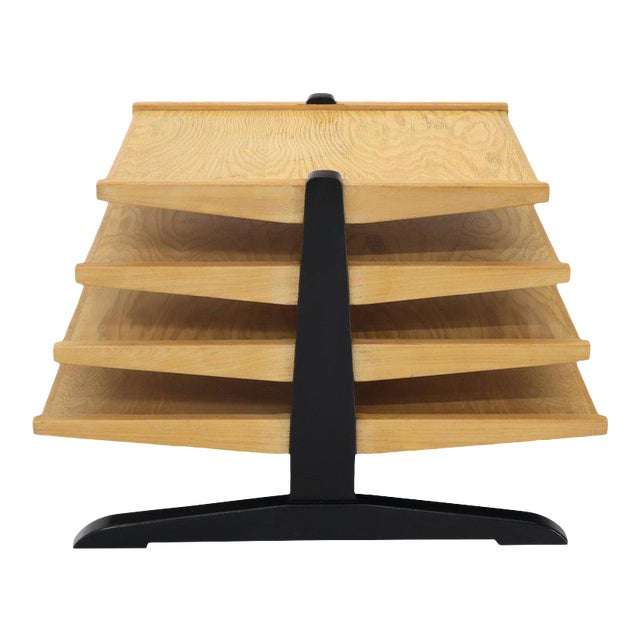 Mid-Century Modern Oak 4-Tier Magazine Rack Stand Shelf Storage For Sale
