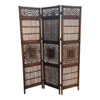 Vintage Mid-Century Bohemian Rattan Folding Room Divider For Sale