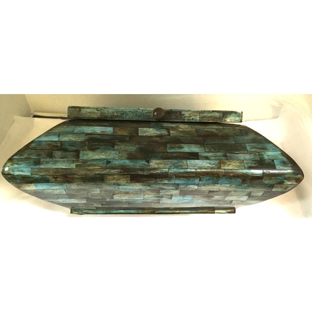 Rare Mid-Century Large Aqua Blue Tessellated Wood Box - Image 8 of 9