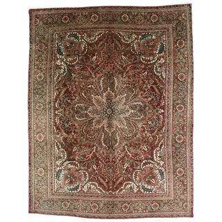 Vintage Persian Heriz Rug with Modern Traditional Style