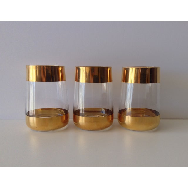 Italian 24k Gold Banded Glasses - Set of 3 - Image 5 of 8