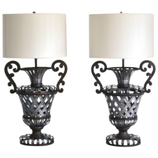 Pair of Wrought Iron Basket Weave Urn Form Table Lamps For Sale
