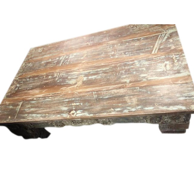 Antique Chai Teak Wood Coffee Table For Sale - Image 4 of 9