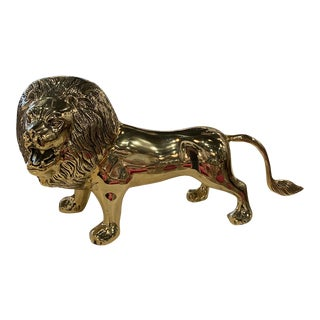 Vintage Polished Brass Lion Statue -Pair Available For Sale