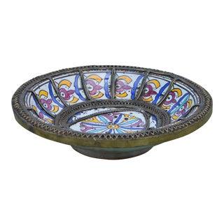 Ceramic Plate W/ Moorish Motif & Inlay For Sale