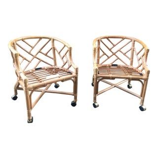 Vintage Henry Link Chippendale Barrel Chairs - A Pair