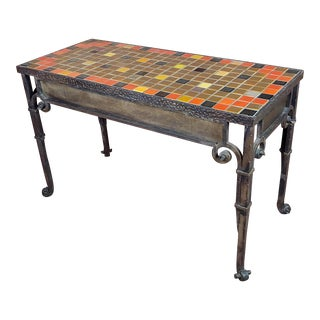 Spanish Bushere & Son Iron Studio Mosaic California Tile Entry Table For Sale