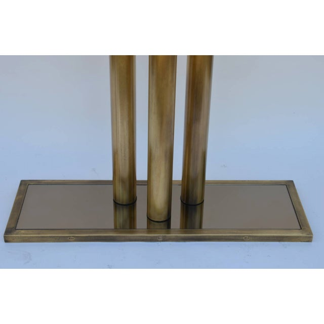 """2010s Contemporary """"Calandre"""" Narrow Brass Mirrored Console For Sale - Image 5 of 9"""