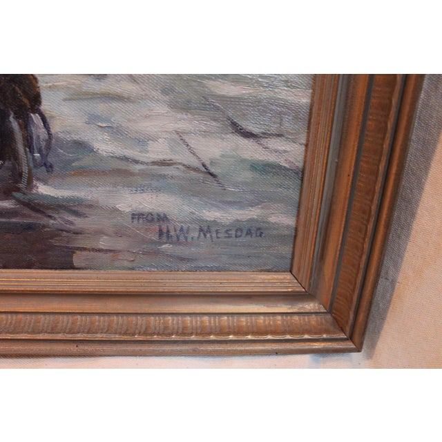Antique Harbor with Boats Painting - Image 5 of 6
