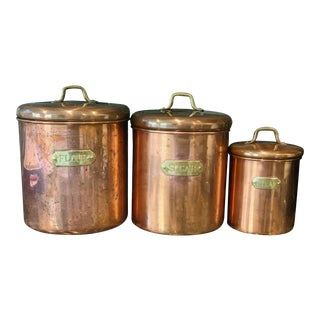 Vintage Copper and Brass Kitchen Canisters - Set of Three For Sale