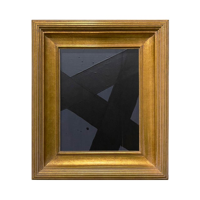 Ron Giusti Mini Abstract Charcoal and Black Acrylic Painting, Framed For Sale - Image 4 of 4