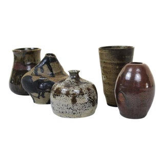 Vintage Mid-Century Pottery Vases- 5 Pieces For Sale