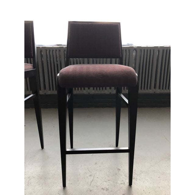 Wood Contemporary Custom Bar Stools - Set of 4 For Sale - Image 7 of 8