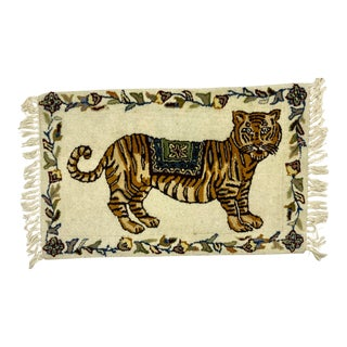 Hand Crafted Wool Tiger Area Rug For Sale