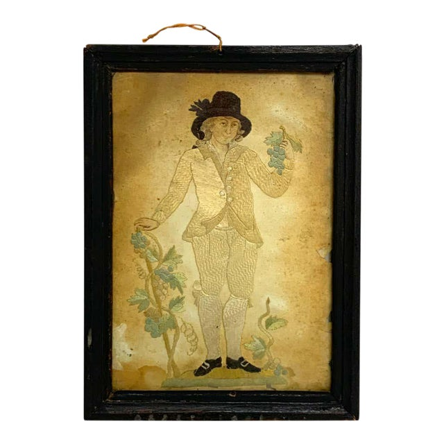 Early 20th Century Framed Two Sided English Silk Embroideries of Regency Twins For Sale