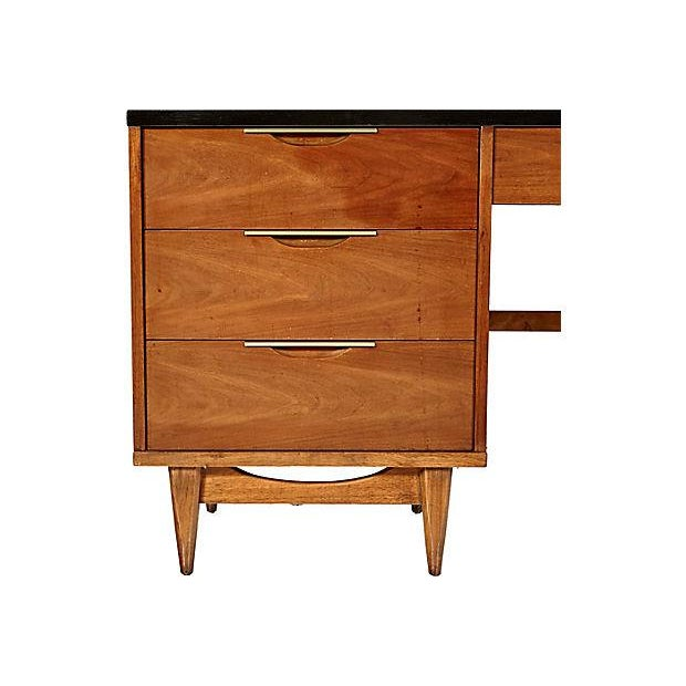 Mid-Century Modern 1960s Walnut & Black Top Desk For Sale - Image 3 of 5