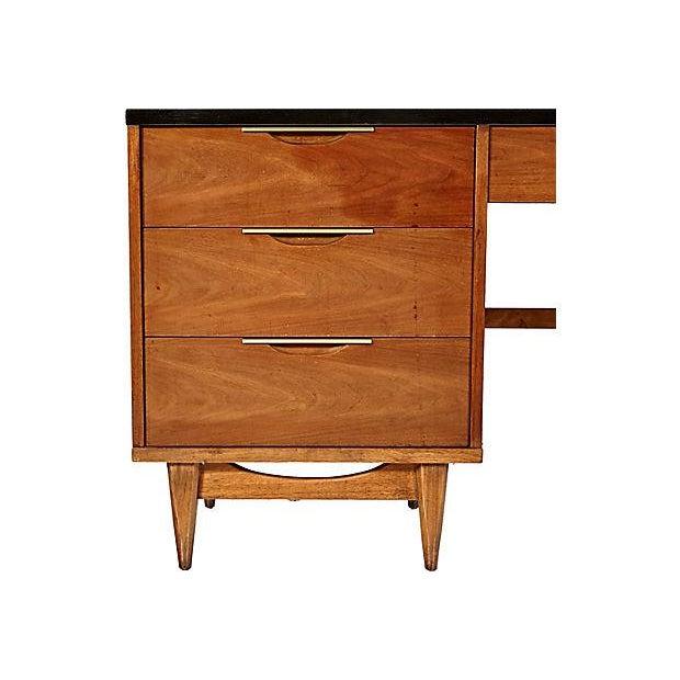 1960s Walnut & Black Top Desk - Image 3 of 5