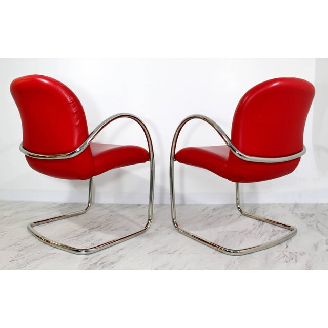 Red 1980s Mid-Century Modern Brueton Red Leather Dining Armchairs - Set of 6 For Sale - Image 8 of 10