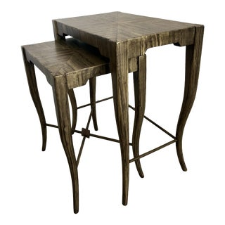 1970s Boho Chic Wooden Nesting Tables - 2 Pieces For Sale