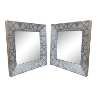 Pair of Hollywood Regency Faux Bamboo Mirrors For Sale