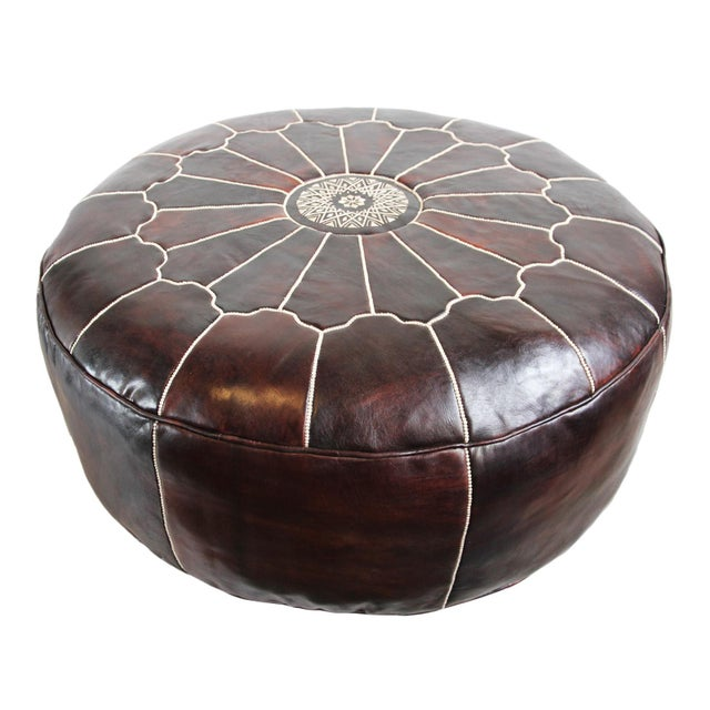 Large Leather Moroccan Ottoman - Image 5 of 5