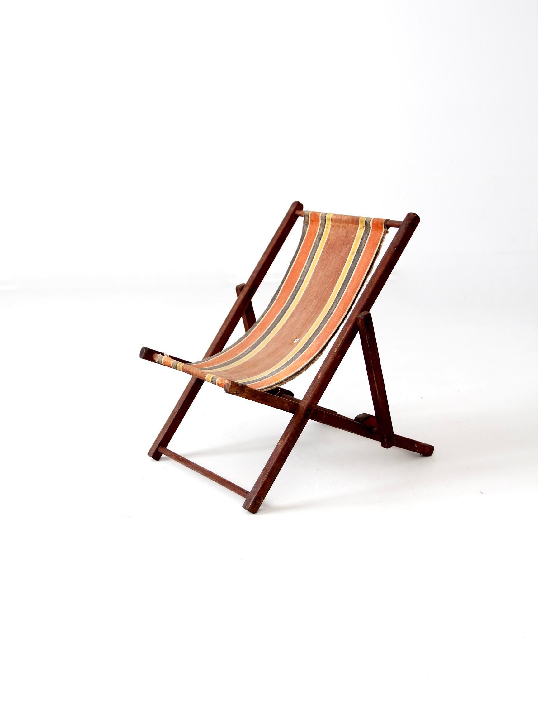 This Is A Childrenu0027s Deck Chair Circa 1940. The Classic Beach Chair  Features A Wood