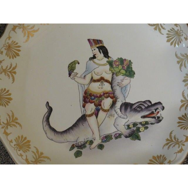 Art Nouveau Chelsea House Paint Decorated Wall Plates - Set of 4 For Sale - Image 3 of 6