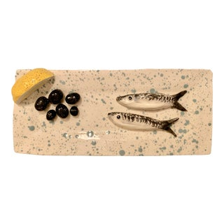 Sardines, Olives and Lemon on a Platter by Leslie Rylee For Sale