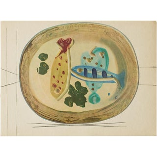 1955 Pablo Picasso Ceramic Plate With Fish and Olives, Original Period Swiss Lithograph Preview