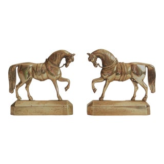Antique English Brass Mantel Horses, a Pair For Sale