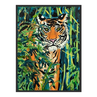 Tiger in Bamboo by Jelly Chen in Black Framed Paper, Small Art Print For Sale