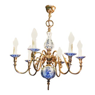 19c Dutch Brass With Blue and White Delft Pottery Chandelier