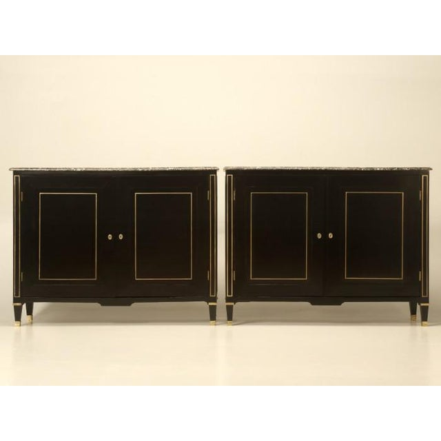 Louis XVI Ebonized Buffets with Marble Tops - a Pair For Sale - Image 13 of 13
